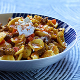 orecchiette with lamb and carrot sauce spiced with kibbeh