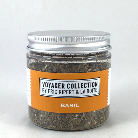 jar of dried basil leaves