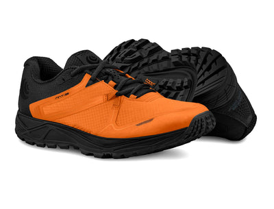 A pair of Topo MT-3 Mens Lightweight Trail Running Shoes in Orange/Black