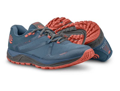 A pair of Topo MT-3 Women's Lightweight Trail Running Shoes in Blue/Coral