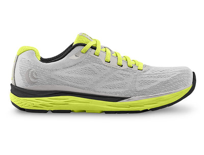 Topo Fli-Lyte 3 Mens Road Running Shoe in Silver/Lime – Side View