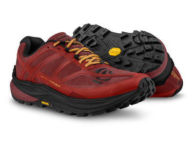A pair of Topo MTN Racer Mens Trail Running Shoes in Red/Orange
