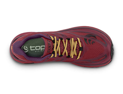 Topo MTN Racer Womens Trail Running Shoe in Berry/Gold – Top View