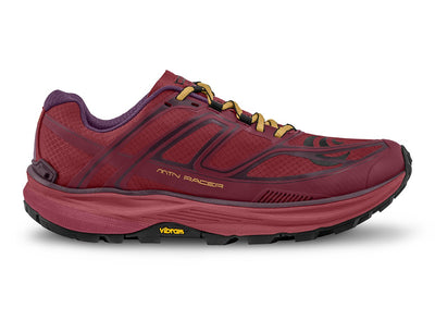 Topo MTN Racer Womens Trail Running Shoe in Berry/Gold – Side View