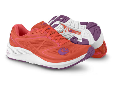 Pair of Topo Zephr Womens Distance Road Running Shoes in Salmon/White
