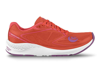 Topo Zephr Womens Distance Road Running Shoe in Salmon/White – Side View