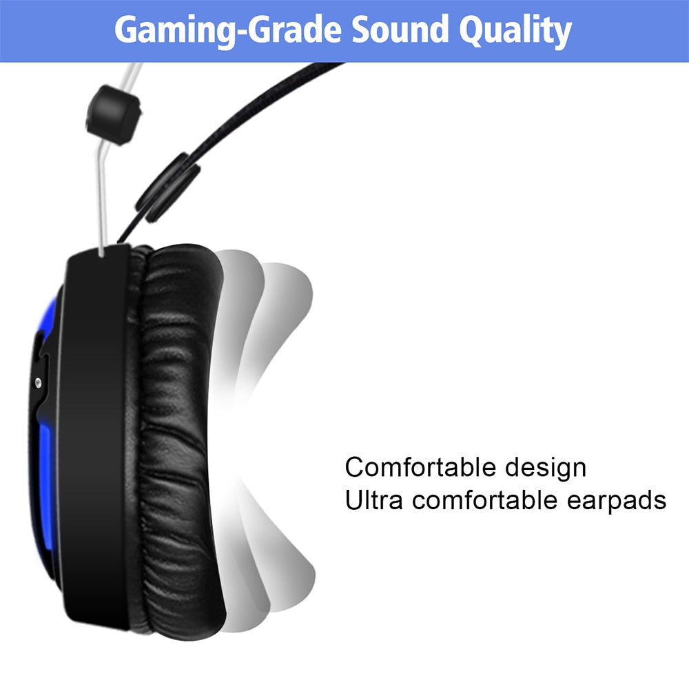 ALWUP-6 Gaming headset for PS4 Xbox one with microphone Gaming Headphones  for computer PC games with splitter 7 colors LED light