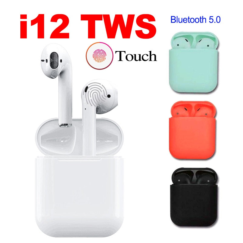 i12 TWS Touch Control Earphone Wireless Bluetooth 5 0 Earphones 3D Surround  Sound & Charging Box For iPhone Smart Phone Xiaomi