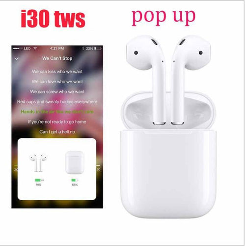 b7ec29b1cbc i30 TWS 1:1 Replica Pop-up Wireless Earphone 6D Super Bass Bluetooth 5.0