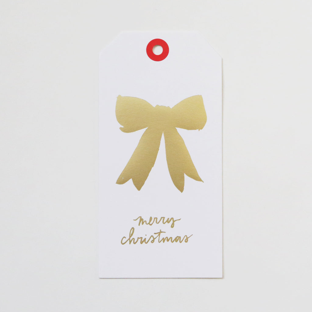 Set of 5 Tags: Gold Bow