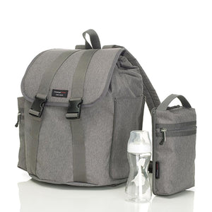 Storksak Travel Backpack Grey changing Bag with side pocket zipped off | Backpack nappy bag | Storksak - Award-winning Baby  Bags & Accessories