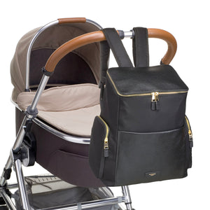 Storksak Alyssa The convertible baby nappybag without compromise / on pram / leather and gold