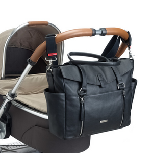 Emma leather black Baby Nappy Bag on pram | shoulder bag nappy Bag on stroller with built in strollerclips | Storksak – Award-winning Baby Nappy Bags & Accessories