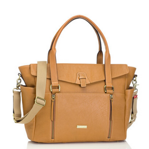 Emma leather Tan Baby Nappy Bag | shoulder bag nappy Bag | Storksak – Award-winning Baby Nappy Bags & Accessories