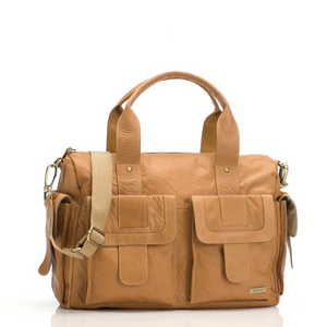 Sofia leather tan Baby Nappy Bag | shoulder bag Nappy Bag | Storksak – Award-winning Baby Nappy Bags & Accessories