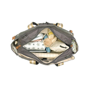 Storksak Travel Shoulder bag Grey changing Bag internal view filled | Shoulder bag | Storksak - Award-winning Baby Changing Bags & Accessories