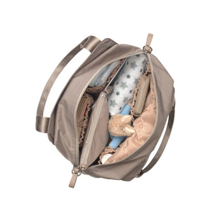Alexa taupe Baby Changing Bag internal view | shoulder bag Changing Bag | Storksak – Award-winning Baby Changing Bags & Accessories