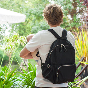 Model with Storksak Hero Backpack Black Nappy Bag | Backpack Nappy bag | Storksak - Award-winning Baby Nappy Bags & Accessories