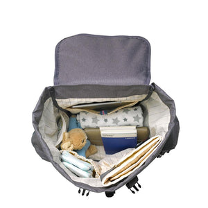 Storksak Travel Backpack Grey changing Bag internal view | Backpack changing bag | Storksak - Award-winning Baby Changing Bags & Accessories