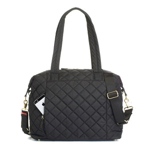 Stevie quilt black Baby Changing Bag | shoulder bag Changing Bag back pocket | Storksak – Award-winning Baby Changing Bags & Accessories