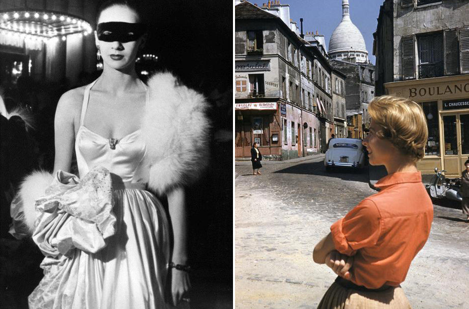 e8d49093f1a57 (L) After midnight Brassaï, Paris, 1930. (R) American girl in Montmartre,  Photo by Inge Morath, Paris 1954.