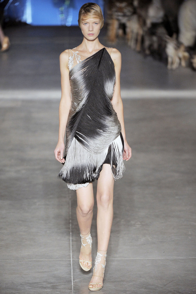 S/S 2009 Alexander McQueen Feather Print Silk Dress