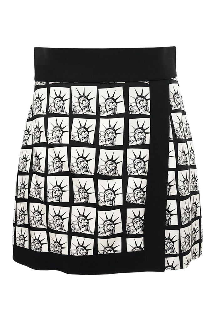Fall 2014 Fausto Puglisi Graphic Liberty Print Flared Mini Skirt