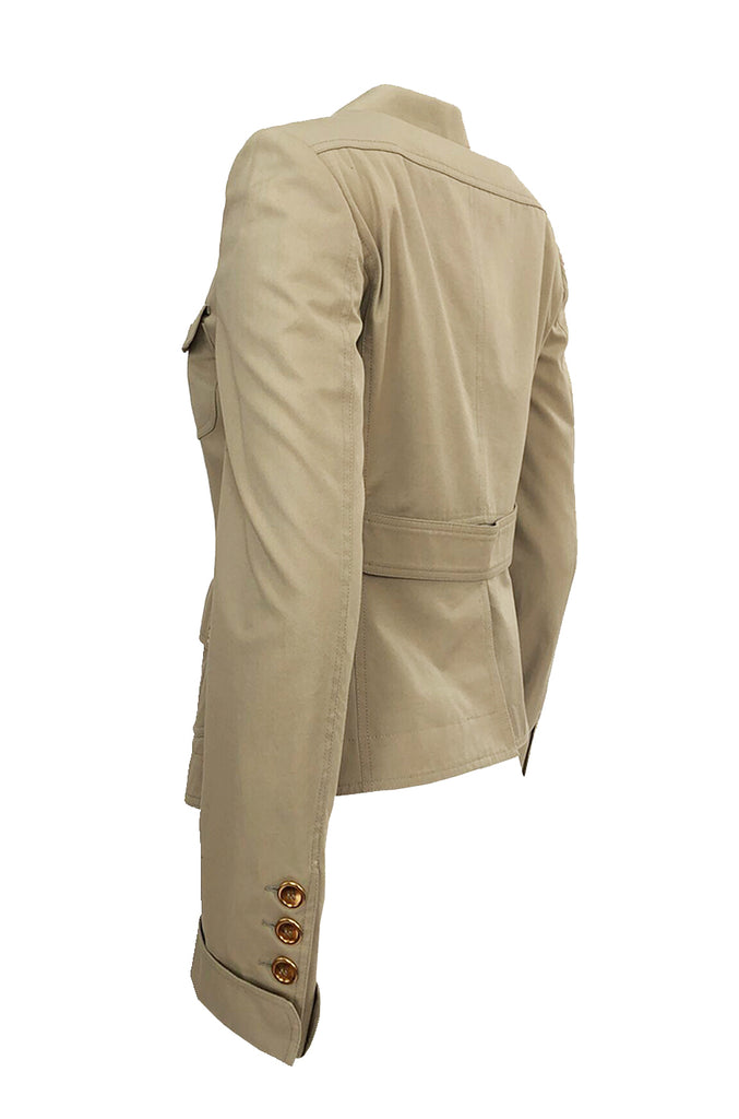 Early-mid 2000s Burberry Khaki & Gold Button Hip Flare Jacket