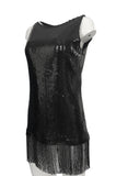 c 1974 Bill Blass Densely Covered Black Sequin Fringed Tunic & Skirt Dress Set