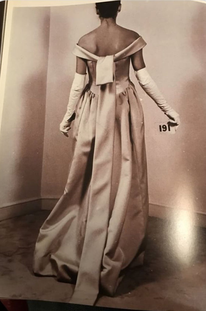 1962 Cristóbal Balenciaga Haute Couture Off Shoulder Yellow Silk Dress