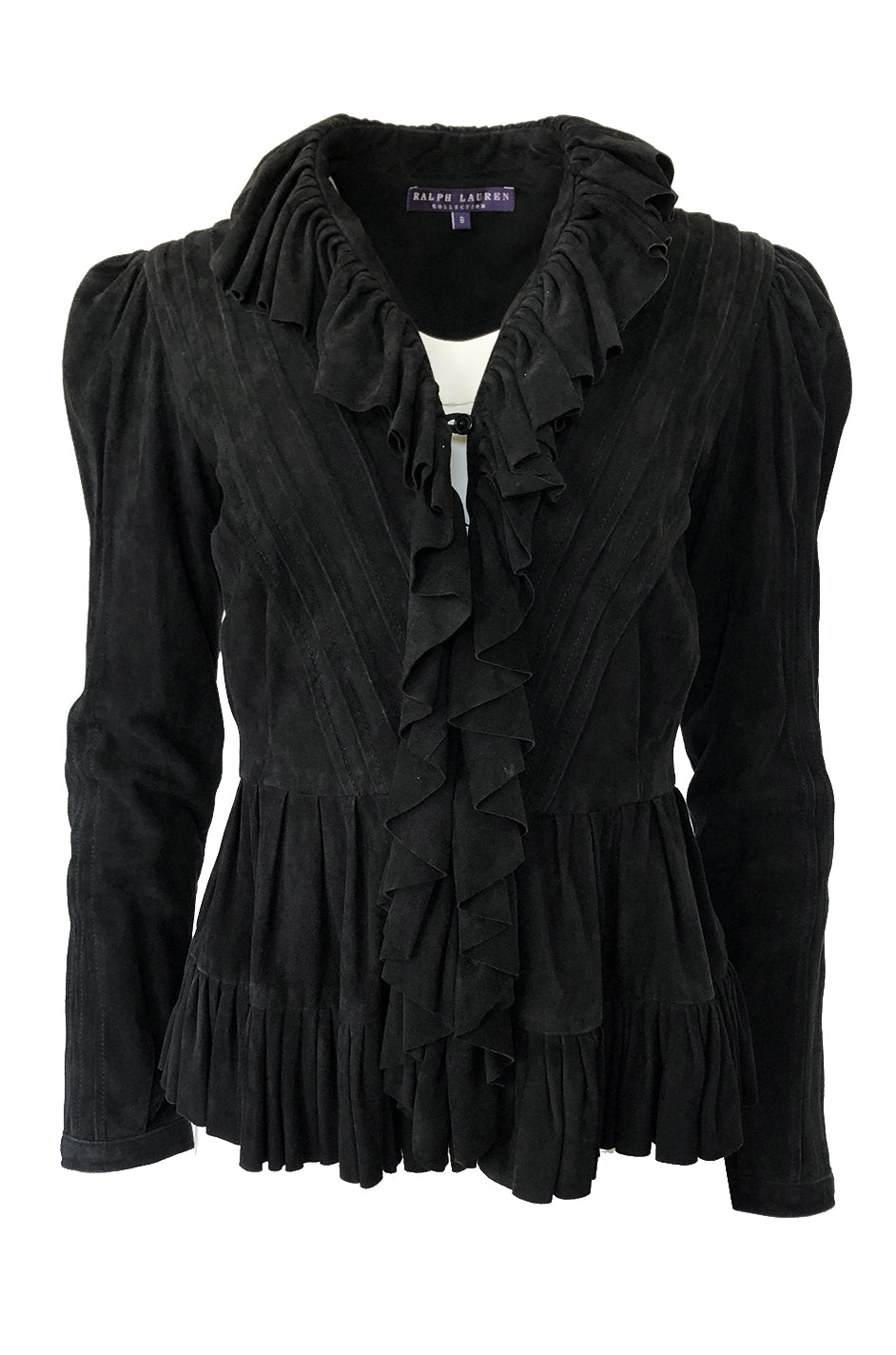 337dc24c3661f4 1990s Ralph Lauren Intricately Pleated & Seamed Black Suede Jacket