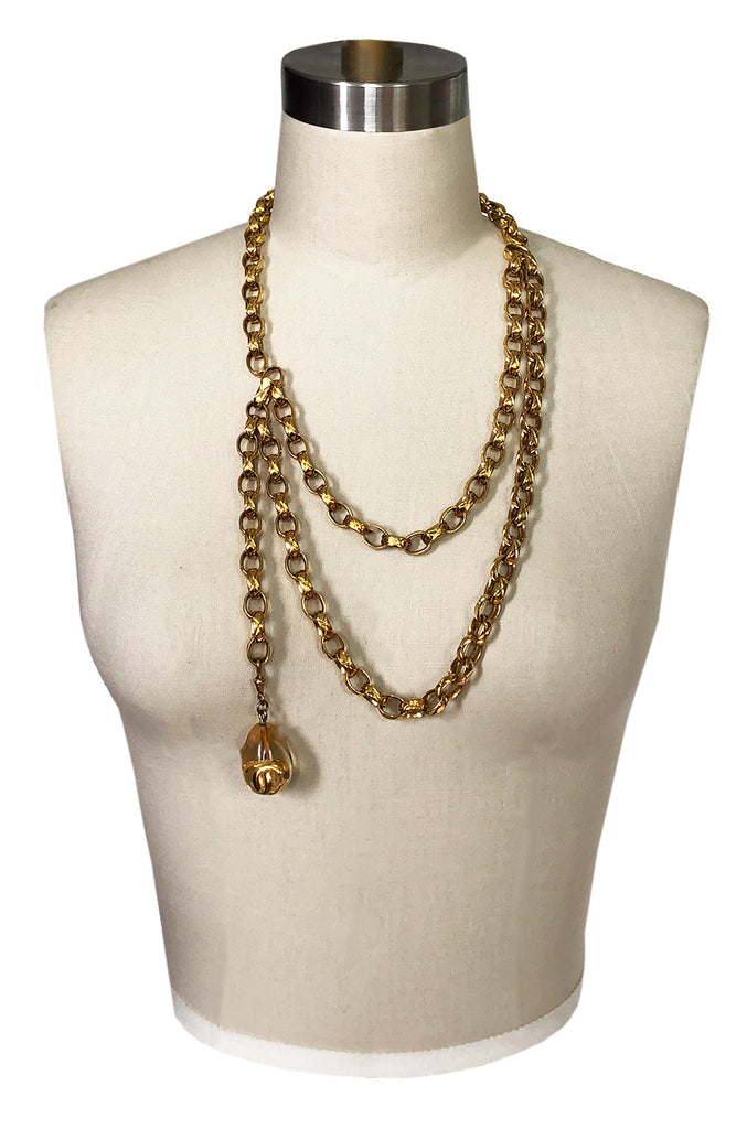 Vintage Chanel Gold Drop Charm Necklace, Belt or Headpiece