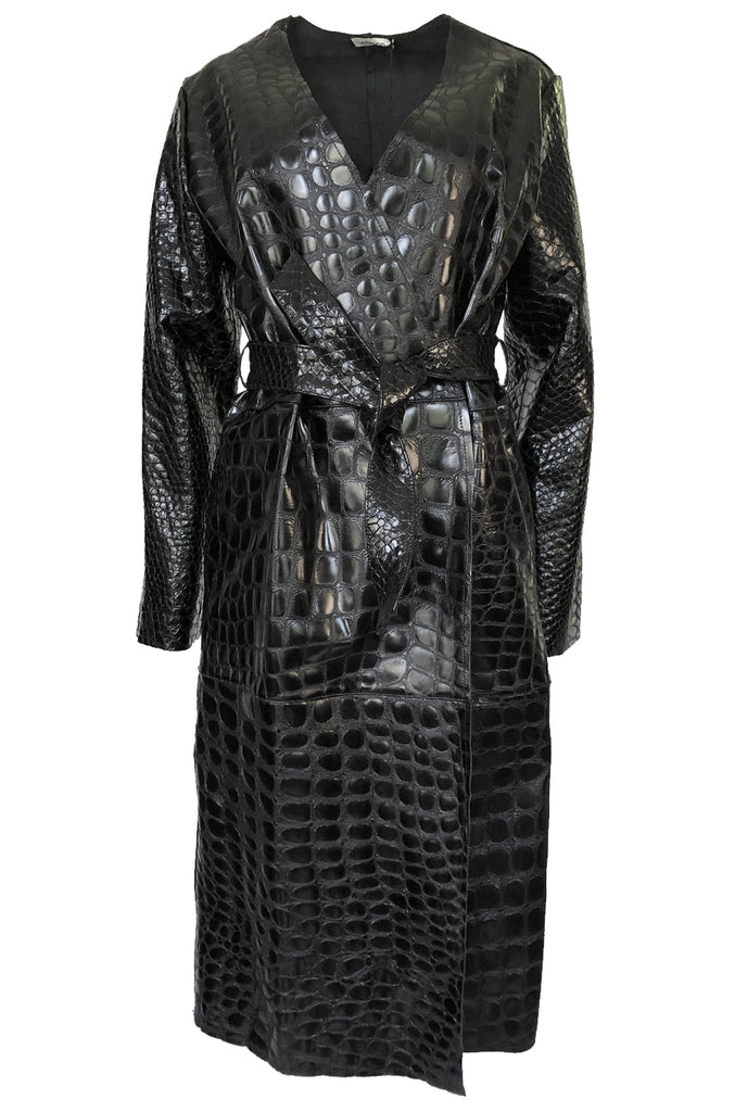 Fall 2017 The Attico 'Maria' Crocodile Embossed Glossed Leather Wrap Coat