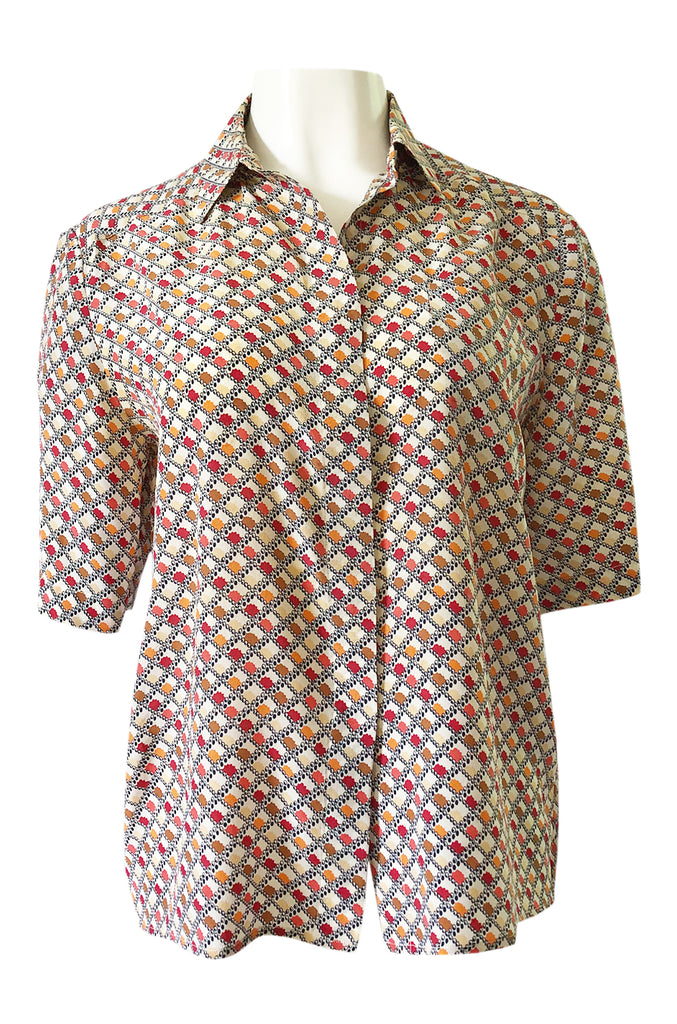 1970s Chloe Silk Geometric Earth Tones Print Short Sleeve Top