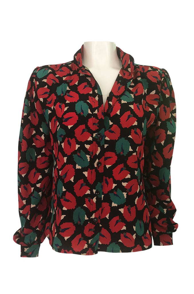1980s Emanuel Ungaro Bright Red Floral Print Silk Top