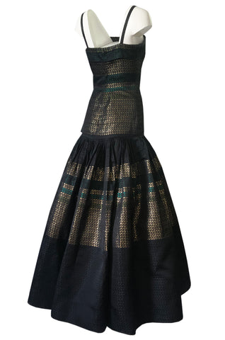 c 1945 Adrian Original Couture Black & Metallic Gold Silk Skirt & Top Dress Set
