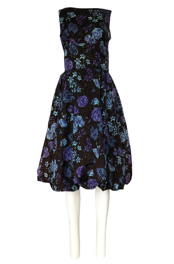 1950s Warped Floral Print Moire Silk Taffeta Bubble Skirt Dress