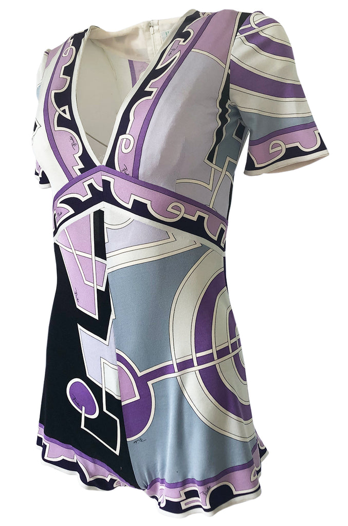 1970s Emilio Pucci Pale Purple Print Silk Jersey One Piece Playsuit