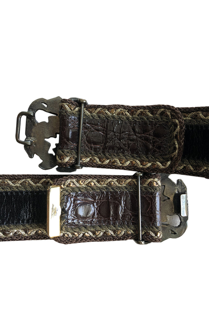 1980s Emanuel Ungaro Alligator and Metal Buckle Brown Leather Belt