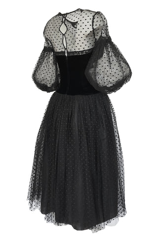 1970s Victor Costa Black Full Skirted Dotted Net & Velvet Bow Dress