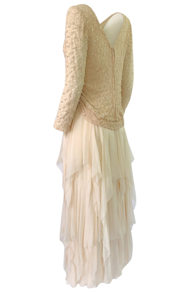 1970s Stavropoulos Cream Beaded Lace & Silk Chiffon Ivory Dress
