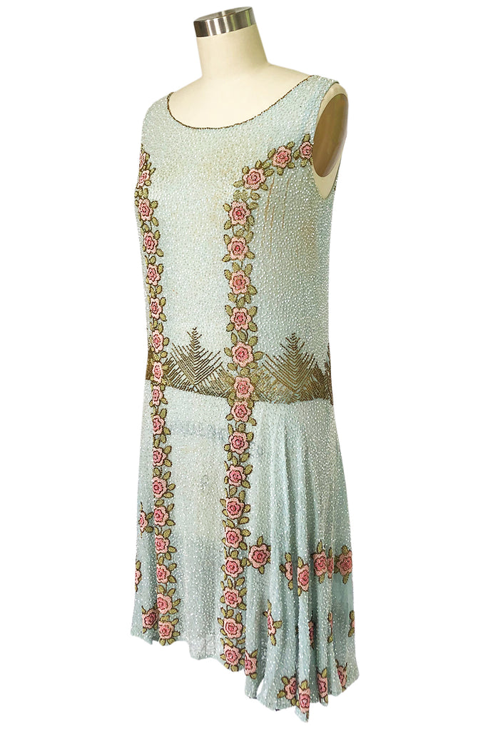 Extraordinary 1920s 3D Pink & Gold Floral Beaded Blue Flapper Dress