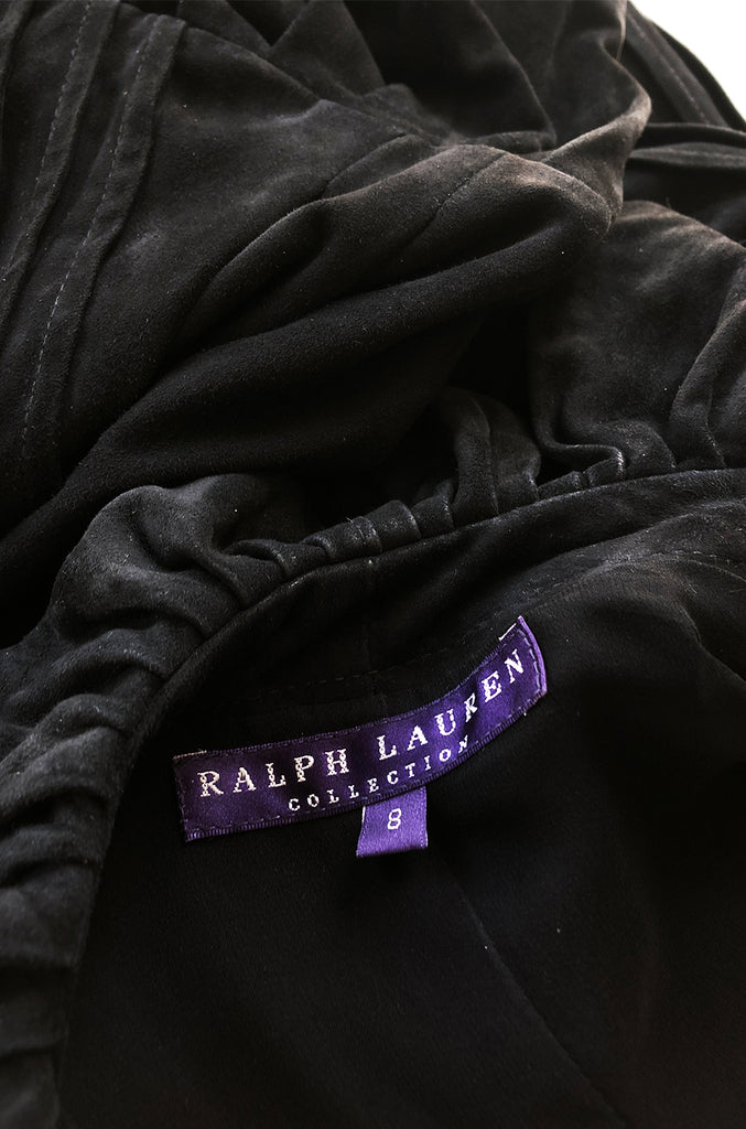 1990s Ralph Lauren Intricately Pleated & Seamed Black Suede Jacket