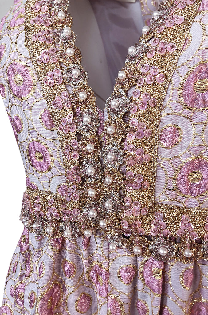 1960s I. Magnin Pale Pink & Lavendar Metallic Beaded Wide Leg Jumpsuit