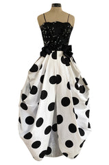 Early 1980s Possible Louis Feraud Graphic Sequin Bodice w Black & White Dotted Bubble Skirt Dress