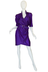 1980s Purple Parachute Silk Thierry Mugler Wrap Dress