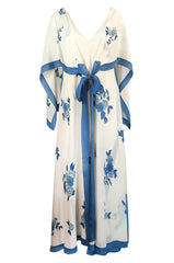 c.1974 Karl Lagerfeld for Chloe Blue Floral Print Silk Print Dress & Capelet