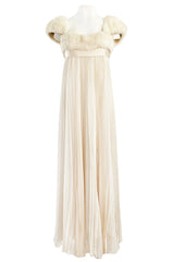 1964 Sarmi Ivory Knife Pleated Silk Chiffon Dress w Cream Mink Bodice & Silk Ribbon Detail