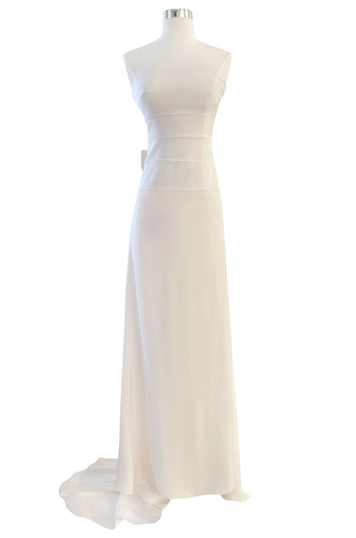 Recent Valentino Ivory Strapless Fitted Bodice Silk Wedding Dress w Train & Back Bow
