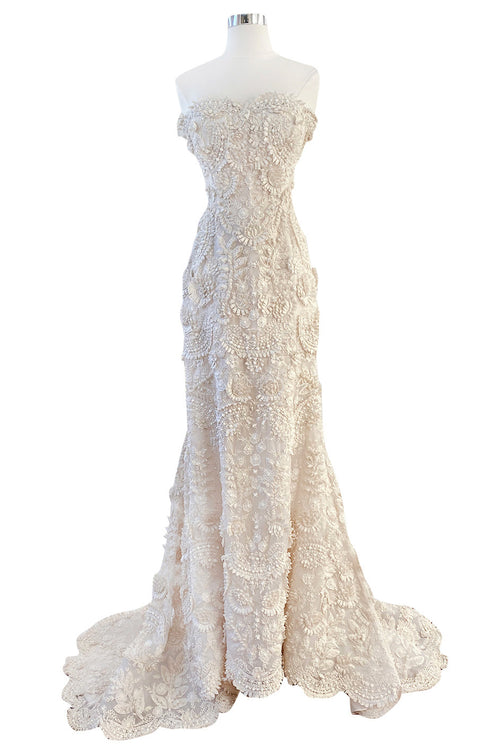 Spring 2008 Oscar De La Renta Embroidered Beaded Ribbon Work Floral Silk Organza Wedding Dress